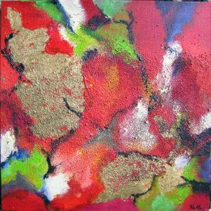 30x30 Abstraktion i rødt og guld