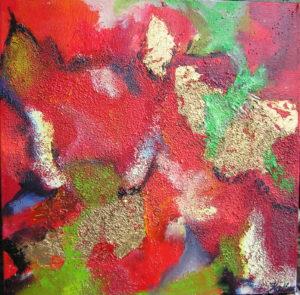 30x30 Abstraktion i rødt og guld I