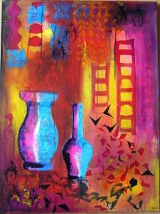 80x60 Rød violet collage med vaser