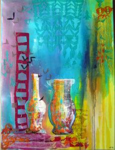 80x60 Collage med vaser-turkis-gul