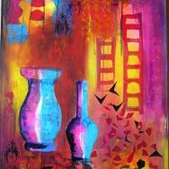 Rød-violet collage med vaser