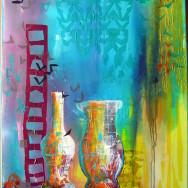 Collage med vaser i turkis og gul